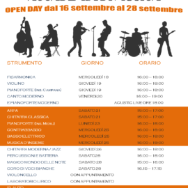 Calendario Open Day Accademia di Musica