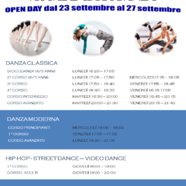 Calendario Open Day Accademia di Danza