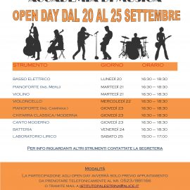 CALENDARIO OPEN DAY ACCADEMIA DI MUSICA